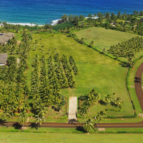 Aerial ocean view shot of lot 18 of Kealia Kai on Kauai - Project Broker is Hannah Sirois