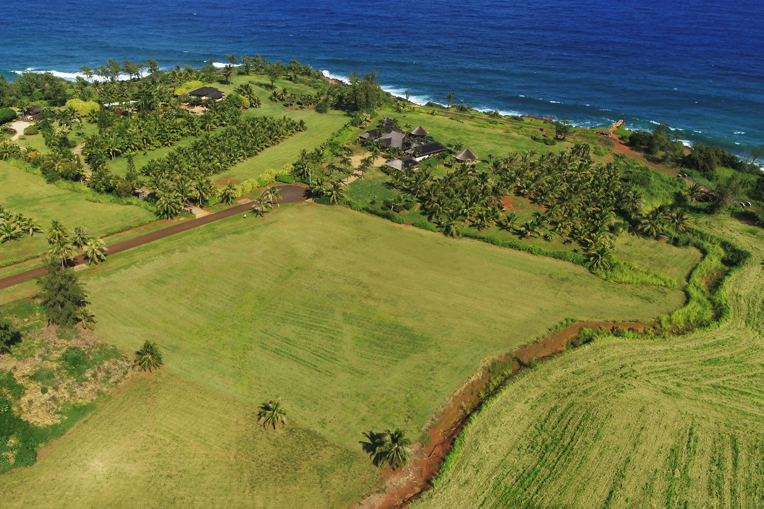 Aerial ocean view shot of lot 13-A of Kealia Kai on Kauai - Project Broker is Hannah Sirois