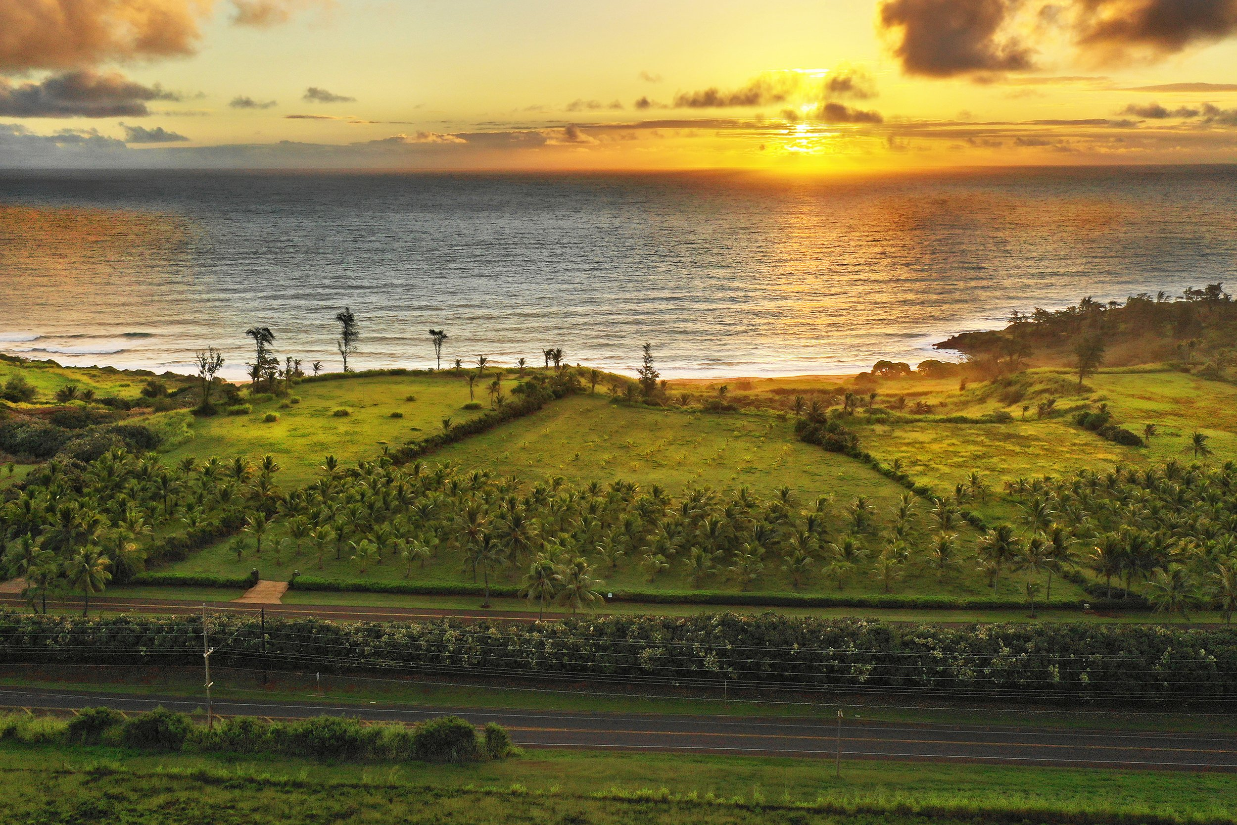Aerial sunrise ocean view shot of lot 22 of Kealia Kai on Kauai - Project Broker is Hannah Sirois